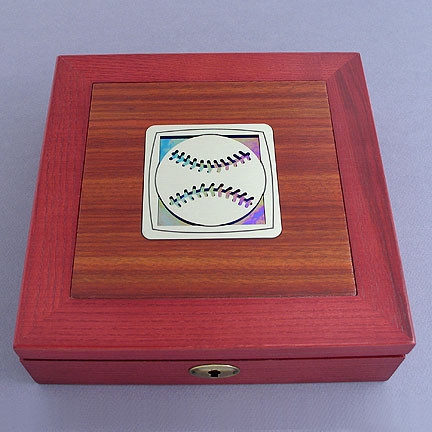 Baseball Locking Valet Box in Wood - Metal & Glass Inlay, Engraved 8