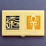 Egyptian Eye and Ankh Business Card Holder Case