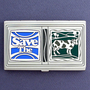 Save the Cows Business Card Holder Case