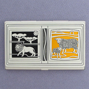 The Lion and The Lamb Christian Business Card Holder