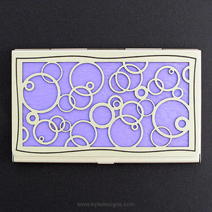 Abstract Circle Motif Decorative Business Card Holder