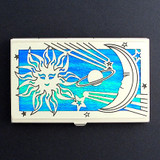 Sun, Moon, Stars Decorative Business Card Holder Case