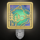 Highest Peak Mountain Night Light in Brass/Green