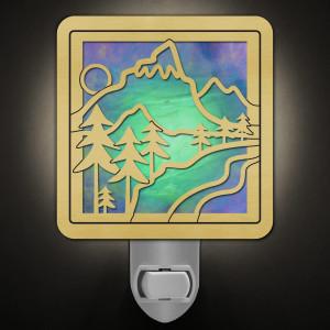 Highest Peak Mountain Night Light in Brass/Green