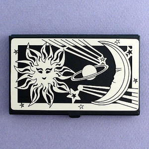 Sun Moon Stars Black Business Card Case