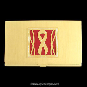 Red Ribbon Business Card Holders