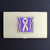 Purple Ribbon Business Card Holders
