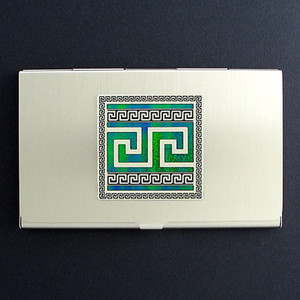 Greek Key Business Card Case