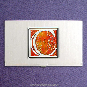 Monogrammed Letter C Business Card Holder Case