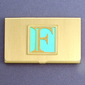 Monogram Letter F Business Card Holder Cases