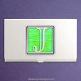 Monogrammed Letter J Metal Business Card Holder