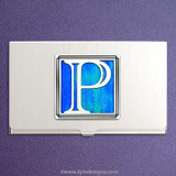 Monogrammed Letter P Business Card Holder