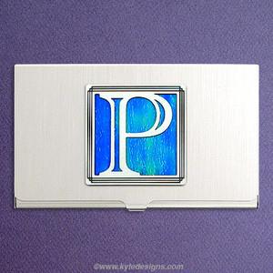 Monogrammed Letter P Business Card Holder