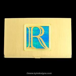 Monogrammed Letter R Business Card Holder