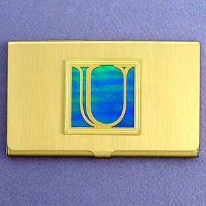 Monogrammed Letter U Business Card Case