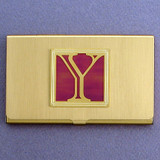 Monogrammed Letter Y Metal Business Card Cases