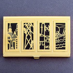 Gold Civil Engineering Business Card Holder Case