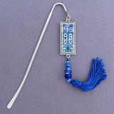 Egyptian Hieroglyphic Bookmark - Silver & Blue
