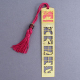 Cat Bookmark - Gold with Pink Tassel