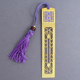 Art Deco Bookmark - Gold with Purple Tassel