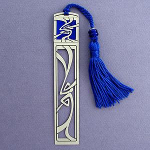Art Nouveau Bookmark - Silver with Blue Tassel