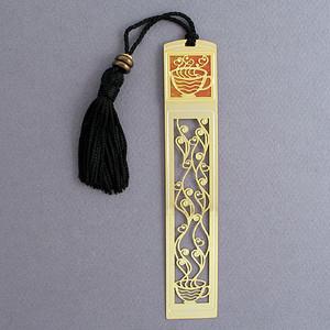 Coffee Bookmark - Gold with Black Tassel