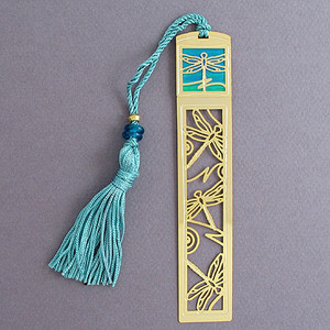 Dragonfly Bookmark - Gold with Aqua Tassel