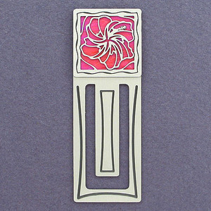 Hibiscus Flower Engraved Bookmark