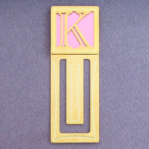 Monogram Letter K Engraved Bookmark