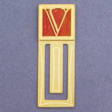 Monogram Letter V Engraved Bookmark