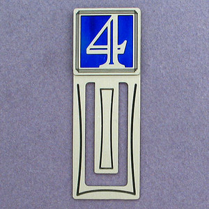 Number Four Symbol Engraved Bookmark