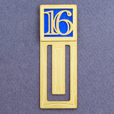 Number 16 Symbol Engraved Bookmark