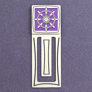 Captain's Wheel Engraved Metal Bookmark