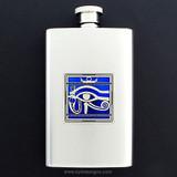 Egyptian Eye Hip Flask 4 Oz Stainless Steel