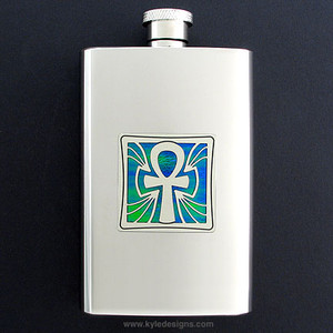 Ankh Hip Flask - 4 Ounce Mirror Finish Stainless Steel