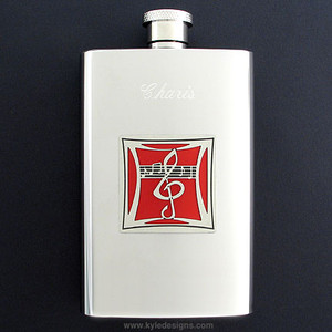 Musical Hip Flask 4 Oz Stainless Steel