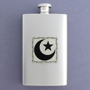 Star and Crescent Hip Flask 4 Oz Stainless Steel