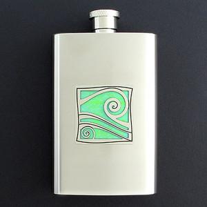 Ocean Wave Hip Flask 4 Oz Stainless Steel