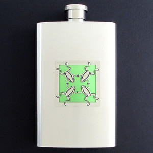 Frogs Hip Flask 4 Oz Stainless Steel