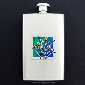 Irises Hip Flask 4 Oz Stainless Steel