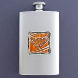 Jewel Motif Pocket Flask 4 Oz. Stainless Steel