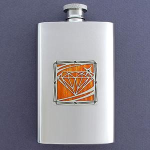 Jewel Motif Pocket Flask 4 Oz. Stainless Steel