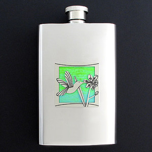 Hummingbird Hip Flask 4 Oz. Stainless Steel
