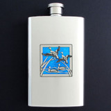 Ducks Hip Flask 4 Oz Stainless Steel