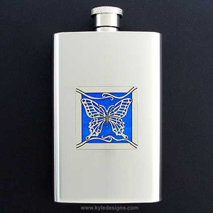 Butterfly Hip Flask 4 Oz Stainless Steel