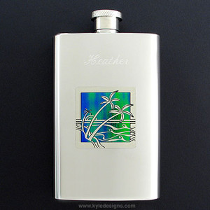Palm Trees Hip Flask 4 Oz Stainless Steel