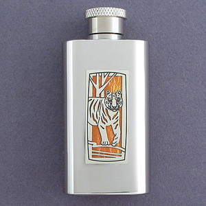 Tiger Flask in 2 Oz Stainless Steel