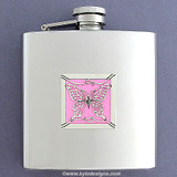 Pink Butterfly Stainless Steel Liquor Flask 6 Oz. Polished