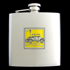 Antique Car Personalized Liquor Flask 6 Oz. Polished