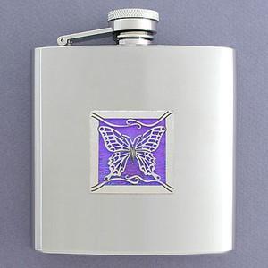 Purple Butterfly Flask 6 Ounce